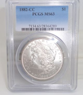 1882 - Cc Morgan Silver Dollar Pcgs Ms - 63 photo