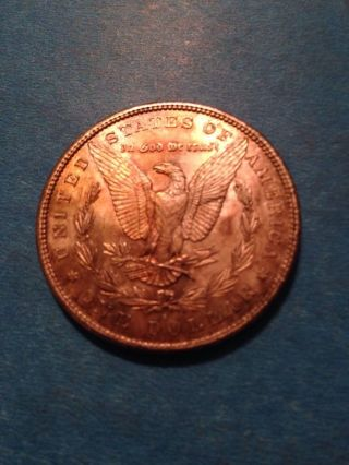 1890 S Morgan Silver Dollar 90% Silver.  Rainbow Tonning photo