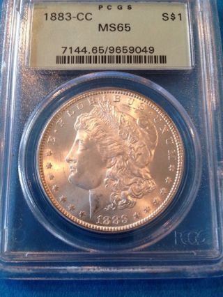 1883 Cc Morgan Silver Dollar Ms65 Rated By Pcgs photo