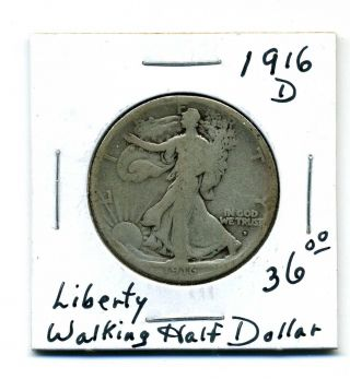 Liberty Walking Half Dollar 1916 - D,  Good photo