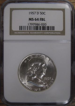 1957 - D U.  S.  Silver Franklin Half Dollar Ngc Graded Ms64 Fbl Gem photo