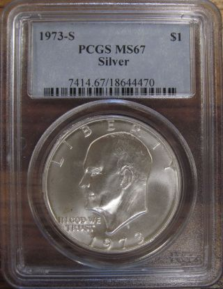 1973 - S U.  S.  Silver Eisenhower Dollar Pcgs Graded Ms67 White Coin photo