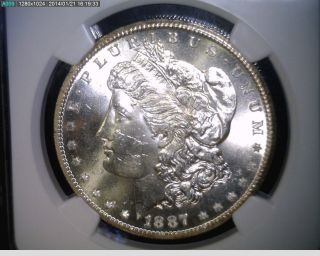 1887 - S Morgan Silver Dollar - Ngc Ms 63+ photo