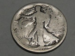 1917 - S Walking Liberty Silver Half Dollar (obu.  Mark) 5212a photo