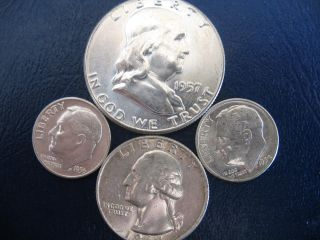 1957 Franklin P 90% Silver Half Dollar+a 1964p Quater,  And 2 Roosevelt Dimes photo