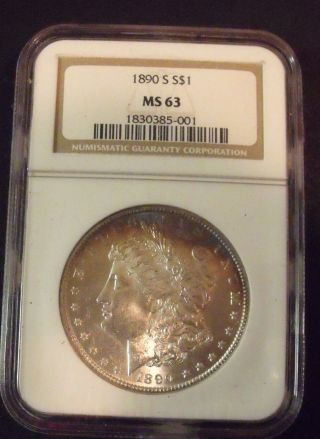 1890 - S Morgan Silver Dollar Ngc Ms - 63 Plus Bonus photo