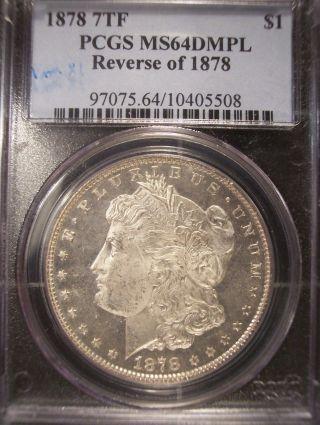 1878 Rev Of 1878 7tf Morgan Silver Dollar Pcgs Ms64dmpl photo