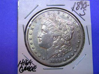 1890 - S Us Morgan Dollar Higher Grade Au+ Semi Key photo