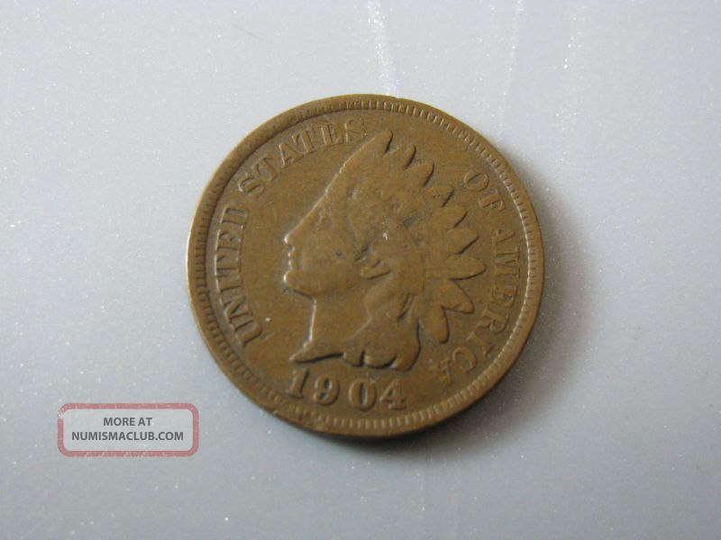 1904 Indian Head Cent United States Coin Good Nc05 Small Cents photo