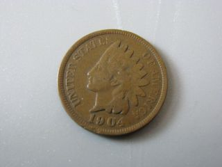 1904 Indian Head Cent United States Coin Good Nc05 photo
