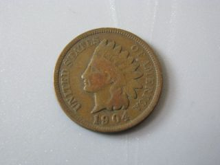1904 Indian Head Cent United States Coin Good Nc03 photo