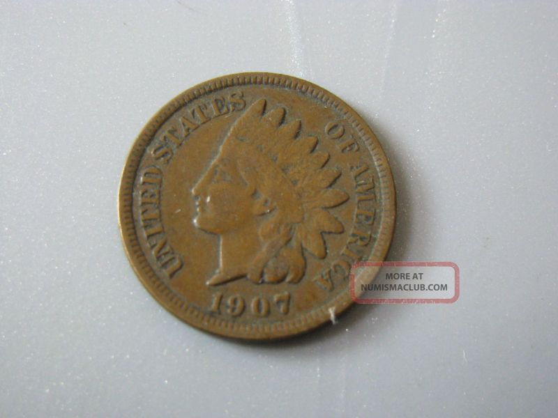 1907 Indian Head Cent United States Coin Vg - F Small Cents photo