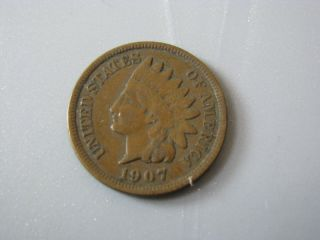 1907 Indian Head Cent United States Coin Vg - F photo