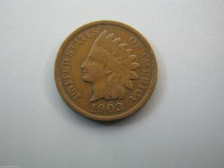 1903 Indian Head Cent United States Coin Vg Nc06 photo