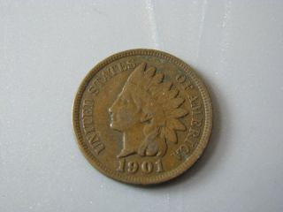 1901 Indian Head Cent United States Coin Fine Nc05 photo