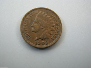 1903 Indian Head Cent United States Coin Vg Nc05 photo