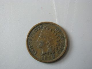 1900 Indian Head Cent United States Coin Vg - F photo
