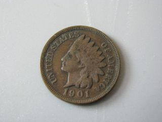 1901 Indian Head Cent United States Coin Fine photo