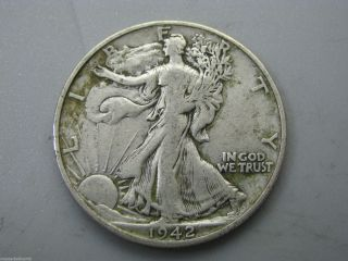 1942 - D Walking Liberty Half Dollar United States Coin F photo