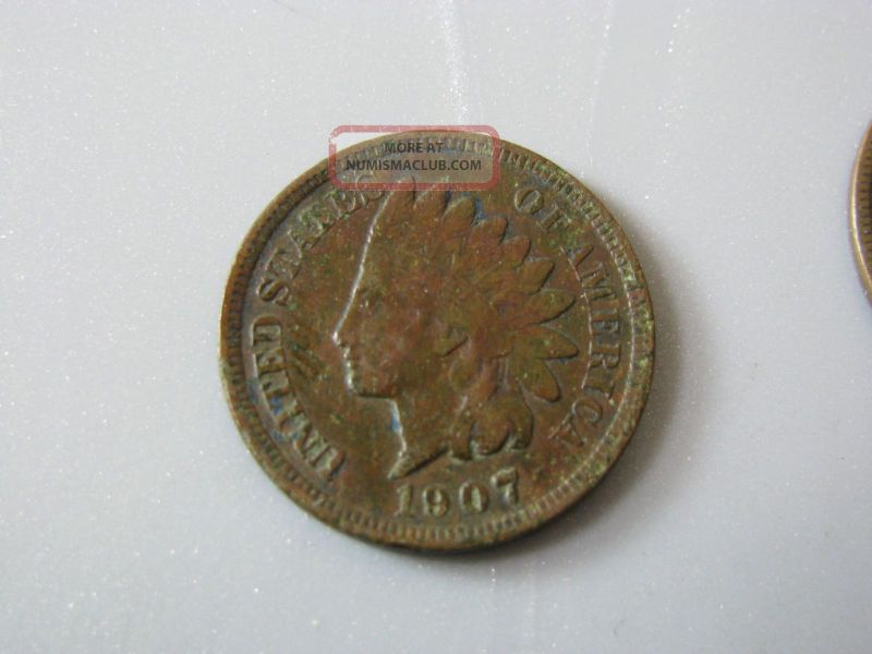1907 Indian Head Cent United States Coin Fine Small Cents photo
