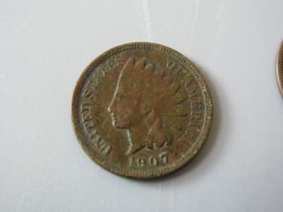 1907 Indian Head Cent United States Coin Fine photo