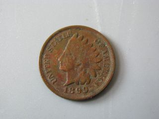 1899 Indian Head Cent United States Coin Fine Nc01 photo