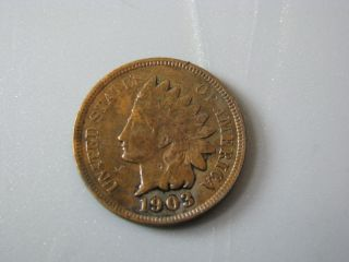 1903 Indian Head Cent United States Coin Vg - F photo