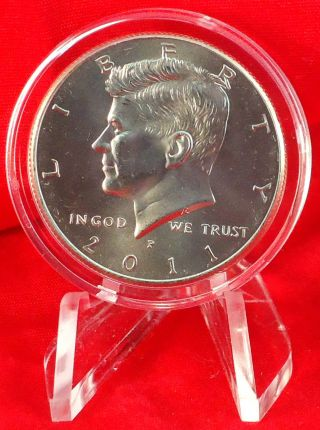 2011 P Uncirculated John F Kennedy Half Dollar In Crystal Clear Capsule & Easel photo