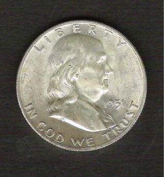 1951 - D__franklin Silver Half Dollar__bu Coin__ 1349920 photo