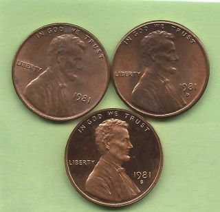 1981 P.  D,  &sproof & Uncirculated Lincoln Memorial Cents.  Is Only $2.  07 photo