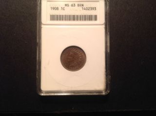 1908 Indian Head Cent Anacs Ms 63 Bn photo