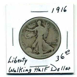 Liberty Walking Half Dollar 1916,  Good photo