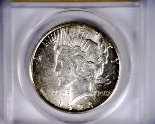 Anacs Ms61 1923s Mostly Blast White Peace Silver Dollar Coin Ms 61 1923 S photo
