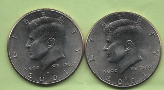 2001 P & D Uncirculated Kennedy Half Dollars Buy It Now $1.  95.  Ship Only $2.  07 photo