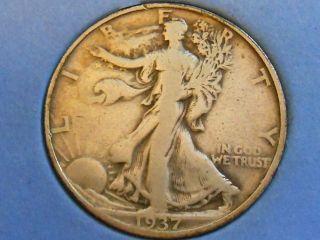 1937d Walking Liberty Half Dollar 50 Cents Fine F Ref 11 photo
