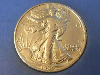 1939s Walking Liberty Half Dollar 50 Cents Very Fine Vf Ref 11 photo