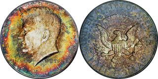 1964 - P Kennedy Ngc Ms 65.  Gigantic Wild Rainbow Color - Extremely Rare photo