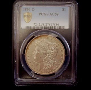 1896 O Morgan Silver Dollar - Pcgs Au58 - Low Mintage photo
