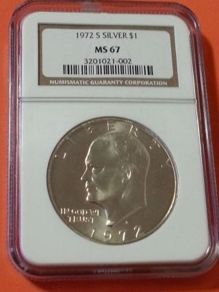1972 - S $1 Silver Ike Dollar Ngc Ms - 67 photo