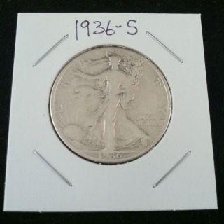 1936 S Walking Liberty 90% Silver Half Dollar.  900 Fine Silver & Usa Ship ' N photo