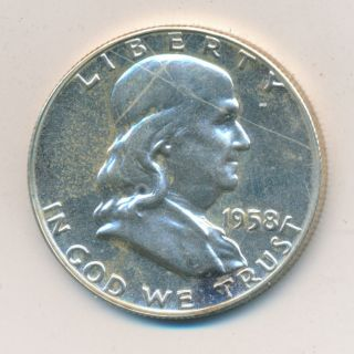 1958 Franklin Half Dollar Silver 90% Proof Coin photo