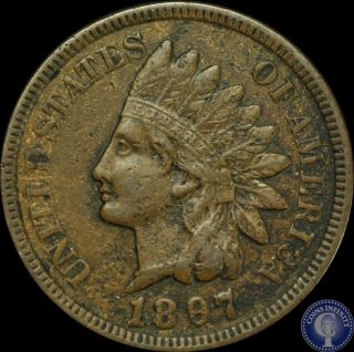 1897 Indian Head Cent 1c Key Date Xf/au Us Coin 20 photo