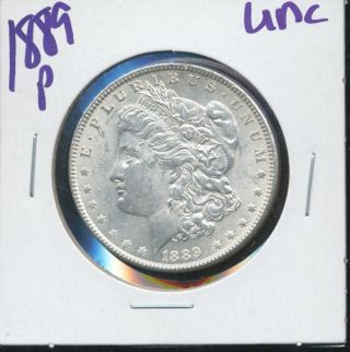 1889 P Morgan Silver Dollar Coin Unc 7477 photo