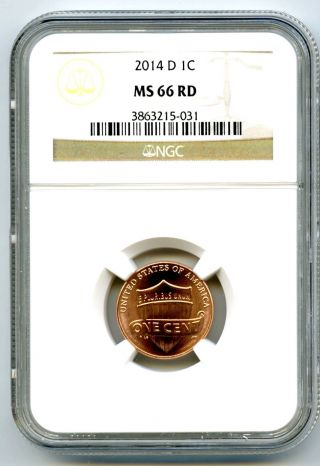 2014 D Us Lincoln Cent Union Shield Ngc Ms66 Rd photo