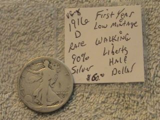 1916 D 90% Silver Liberty Half Dollar Rare First Year Minted photo