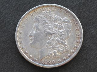 1890 - P Morgan Silver Dollar U.  S.  Coin A5778 photo