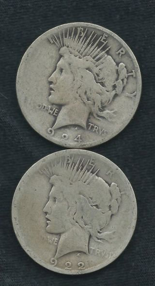 2 Peace Dollars === Junk 90% Silver = 1922 D,  1924 S == Junk Silver photo