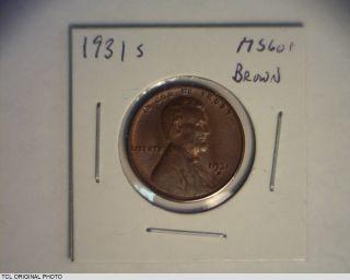 United States 1931 - S Lincoln Wheat Cent Rare Date Bu Unc Brown 1c photo