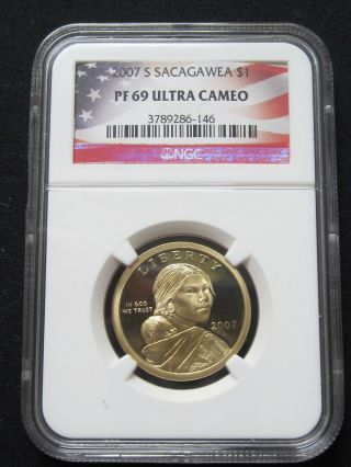 2007 S Proof Sacagawea Native American Dollar - Ngc Pf 69 Ultra Cameo (146) photo