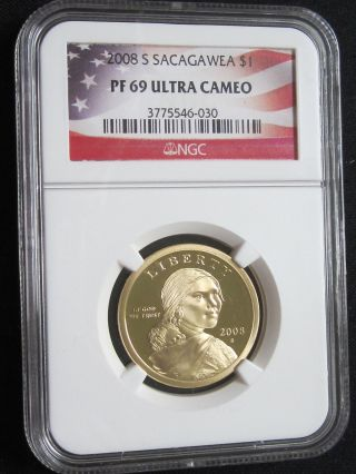 2008 S Proof Sacagawea Native American Dollar - Ngc Pf 69 Ultra Cameo (030) photo